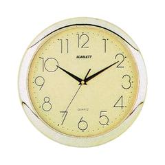 Часы настенные SCARLETT SC-45C круг, желтые, золотистая рамка, 28,8х28,8х3,7 см