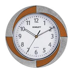 Часы настенные SCARLETT SC-55RA круг, белые, бело-коричневая рамка, плавный ход, 28х28х4,4 см