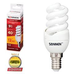Лампа люминесцентная энергосберегающая SONNEN Т2, 9 (40) Вт, цоколь E14, 12000 ч., теплый свет, премиум