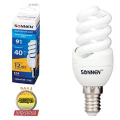 Лампа люминесцентная энергосберегающая SONNEN Т2, 9 (40) Вт, цоколь E14, 12000 ч., холодный свет, премиум