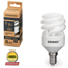 Лампа люминесцентная энергосберегающая SONNEN Т2, 11 (55) Вт, цоколь E14, 8000 часов, холодный свет, эконом