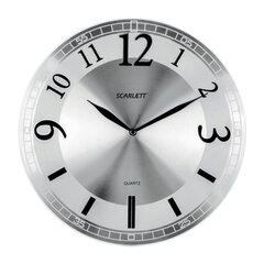 Часы настенные SCARLETT SC-55N, круг, серебристые, серебристая рамка, плавный ход, 33,0x33,0x5,0 см