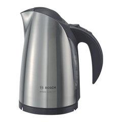 Чайник BOSCH TWK6801, закрытый нагревательный элемент, объем 1,7 л, мощность 2400 Вт, сталь, серебристый