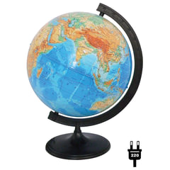 Глобус физический, диаметр 320 мм, с подсветкой