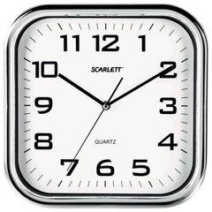 Часы настенные SCARLETT SC-WC1003O квадратные, белые, серебристая рамка, пластик, плавный ход, 30х30х4,6 см