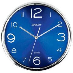 Часы настенные SCARLETT SC-WC1012O круглые, синие, серебристая рамка, пластик, плавный ход, 30х30х4,5см