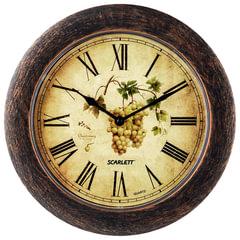 Часы настенные SCARLETT SC-WC1002K круглые, с рисунком, коричневая рамка, плавный ход, 28,5х28,5х4 см