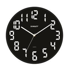 Часы настенные SCARLETT SC-55BL, круглые, черные, черная рамка, пластик, плавный ход, 30,8х30,8х5,3 см