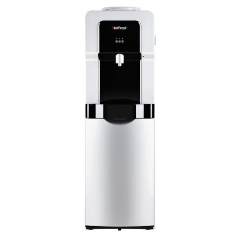 Кулер для воды HOT FROST V900BS, напольный, нагрев/охлаждение, холодильный шкаф 14 л, 1 кран (3 кнопки), серебристый/черный