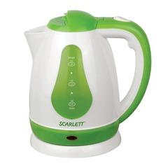Чайник SCARLETT SC-EK18P30, закрытый нагревательный элемент, объем 1,8 л, мощность 1700 Вт, пластик, белый/зеленый