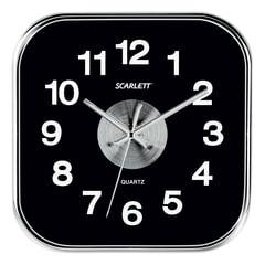 Часы настенные SCARLETT SC-WC1005O квадратные, черные, плавный ход, 25x25x4 см