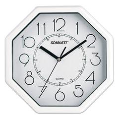 Часы настенные SCARLETT SC-16D восьмигранник, белые, белая рамка, плавный ход, 26,1x26,1х4,2 см