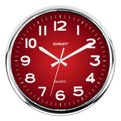 Часы настенные SCARLETT SC-WC1006O круглые, красные, серебристая рамка, плавный ход, 30х30х4 см