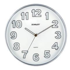 Часы настенные SCARLETT SC-55K круглые, белые, серебристая рамка, плавный ход, 30,3x30,3x4 см