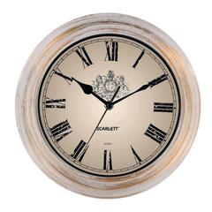 Часы настенные SCARLETT SC-27B круглые, белые, белая с золотом рамка, плавный ход, 28x28x4 см