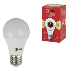 Лампа светодиодная ЭРА, 8 (55) Вт, цоколь E27, грушевидная, теплый белый свет, 25000 ч., LED smdA55\60-8w-827-E27ECO