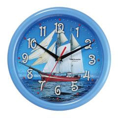 """Часы настенные TROYKA 21241250, круг, голубые с рисунком """"Парусник"""", голубая рамка, 24,5х24,5х3,1 см"""