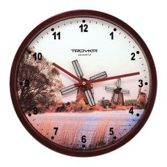 """Часы настенные TROYKA 44031441, круг, белые с рисунком """"Мельница"""", коричневая рамка, 29,5х29,5х5,4 см"""