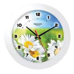 """Часы настенные TROYKA 51510532, круг, с рисунком """"Ромашки"""", белая рамка, 30,5х30,5х5,4 см"""