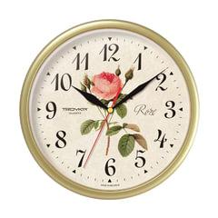 """Часы настенные TROYKA 91971923, круг, с винтажным рисунком """"Roze"""", бежевая рамка, 23х23х4 см"""