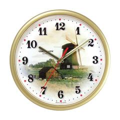 """Часы настенные TROYKA 91971925, круг, белые с рисунком """"Ветряная мельница"""", бежевая рамка, 23х23х4 см"""