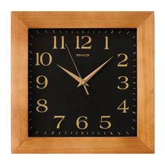 Часы настенные САЛЮТ ДС-2АА25-060, квадрат, черные, деревянная рамка, 31х31х4,5 см