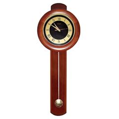 Часы настенные САЛЮТ ДС-2МБ28-804, с маятником, круг, черно-золотые, деревянная рамка, 81х31х6,5 см
