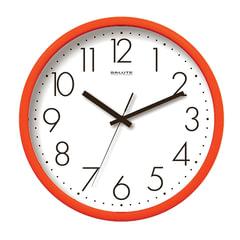 Часы настенные САЛЮТ П-2Б2.3-012, круг, белые, оранжевая рамка, 26,5х26,5х3,8 см