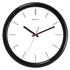 Часы настенные САЛЮТ П-2Б6-134, круг, белые, черная рамка, 26,5х26,5х3,8 см