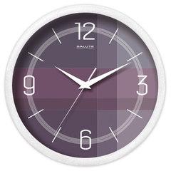Часы настенные САЛЮТ П-2Б8-454, круг, темно-серые, белая рамка, 26,5х26,5х3,8 см