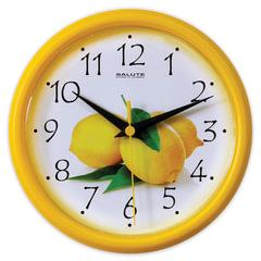 """Часы настенные САЛЮТ ПЕ-Б2-202, круг, белые с рисунком """"Лимон"""", желтая рамка, 24,5х24,5х3,5 см"""