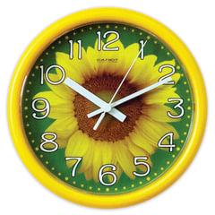 """Часы настенные САЛЮТ ПЕ-Б2-225, круг, зеленые с рисунком """"Подсолнух"""", желтая рамка, 24,5х24,5х3,5 см"""