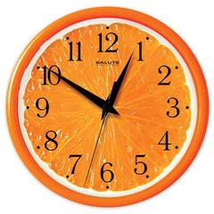 """Часы настенные САЛЮТ ПЕ-Б2.1-237, круг, с рисунком """"Апельсин"""", оранжевая рамка, 24,5х24,5х3,5 см"""