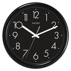 Часы настенные САЛЮТ ПЕ-Б6-266, круг, черные, черная рамка, 24,5х24,5х3,5 см