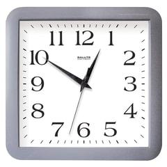 Часы настенные САЛЮТ П-А5-010, квадрат, белые, серая рамка, 29,5х30х4 см