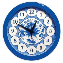 "Часы настенные САЛЮТ П-Б4-169, круг, голубые с рисунком ""Гжель"", синяя рамка, 28х28х4 см"