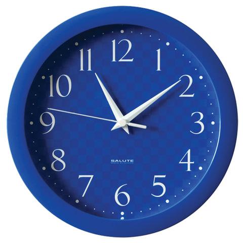 Часы настенные САЛЮТ П-Б4-440, круг, синие, синяя рамка, 28х28х4 см