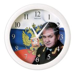 """Часы настенные САЛЮТ П-Б8-337, круг, с рисунком """"Шойгу"""", белая рамка, 28х28х4 см"""