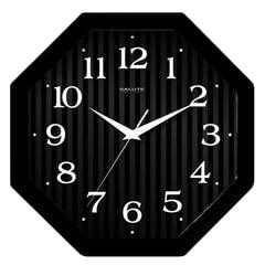 Часы настенные САЛЮТ П-В6-061, восьмигранник, черные, черная рамка, 28х28х4 см