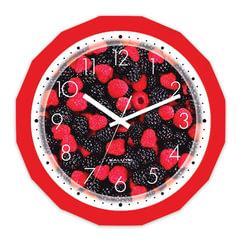 """Часы настенные САЛЮТ П-Г1-190, многоугольник, с рисунком """"Ягоды"""", красная рамка, 28х28х4 см"""