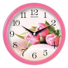 """Часы настенные САЛЮТ ПЕ-Б1.1-226, круг, с рисунком """"Тюльпаны"""", розовая рамка, 24,5х24,5х3,5 см"""