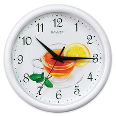 """Часы настенные САЛЮТ ПЕ-Б7-246, круг, белые с рисунком """"Чай"""", белая рамка, 24,5х24,5х3,5 см"""