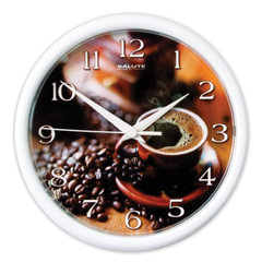 "Часы настенные САЛЮТ ПЕ-Б7-251, круг, коричневые с рисунком ""Кофе"", белая рамка, 24,5х24,5х3,5 см"