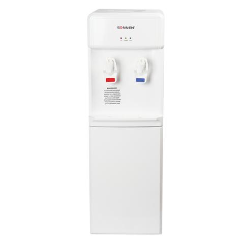 Кулер для воды SONNEN FS-02, напольный, нагрев/компрессорное охлаждение, 2 крана, белый