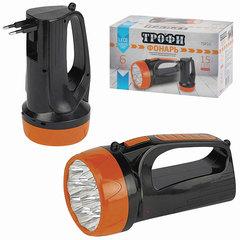 Фонарь-прожектор светодиодный ТРОФИ TSP10, 15 х LED, аккумуляторный, заряд от 220 V