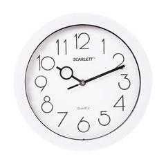 Часы настенные SCARLETT SC-09D, круг, белые, белая рамка, 25,5x25,5x4,6 см