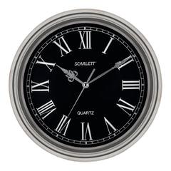 Часы настенные SCARLETT SC-27D, круг, черные, серебристая рамка, 33x33x5,2 см