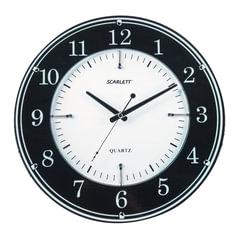 Часы настенные SCARLETT SC-55DC, круг, черно-белые, черная рамка, 34,9x34,9x4,7 см