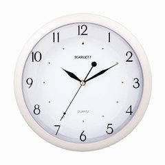 Часы настенные SCARLETT SC-55I, круг, белые, белая рамка, 31,8x31,8x4,3 см