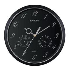 Часы настенные SCARLETT SC-55J, круг, черные, черная рамка, 29,8x29,8x4,5 см